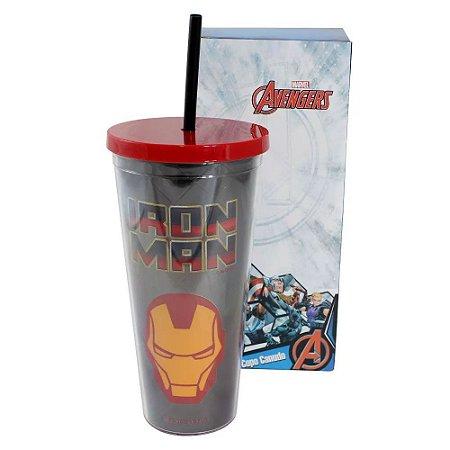 Copo c/ Canudo 650ml Homem de Ferro - Marvel