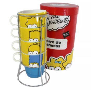 Torre com 4 Canecas e Suporte - Familia Simpsons