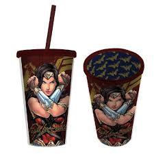 Copo Canudo 500ml Mulher Maravilha Fighter - Filme - DC Comics
