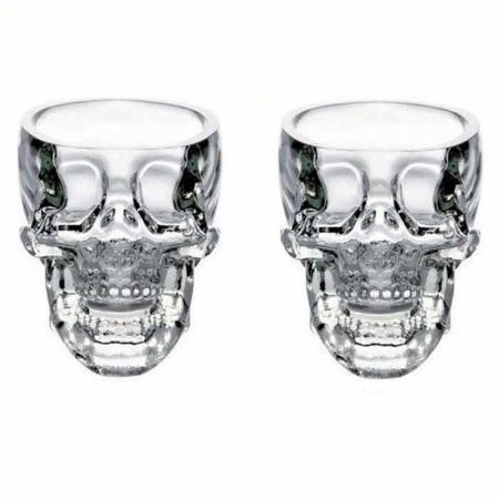 Kit 2 Copos de Shot Caveira Skull Transparente
