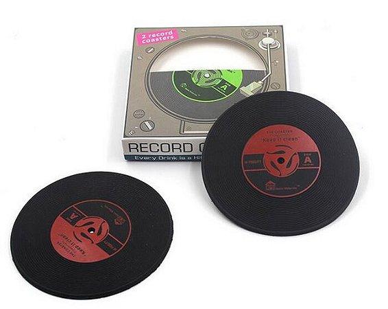 Conjunto 2 Porta copos emborrachados Disco de Vinil - Record Coasters
