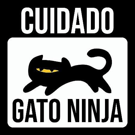 Placa Decorativa CUIDADO: Gato Ninja