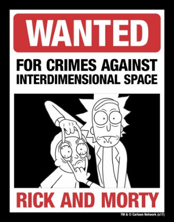 Placa Decorativa WANTED - Rick & Morty