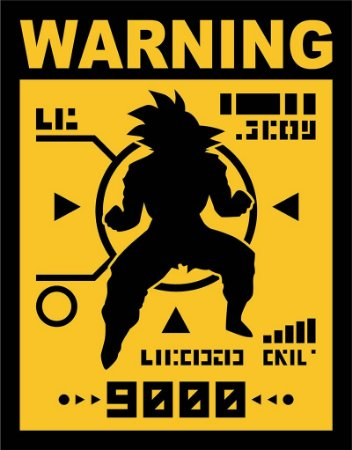 Placa Decorativa WARNING, Over 9000 - Dragonball Z
