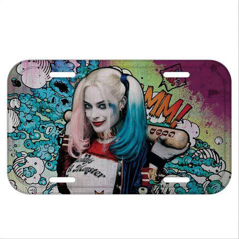 Placa de Carro Metal Decorativa Harley Quinn - Esquadrão Suicida