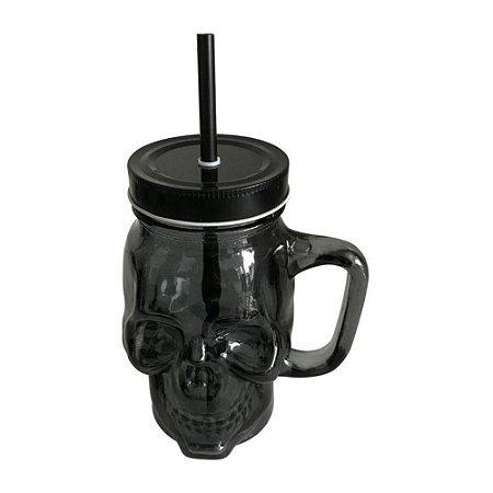 Copo Jarra Mason Jar 500ml Skull Caveira Preto
