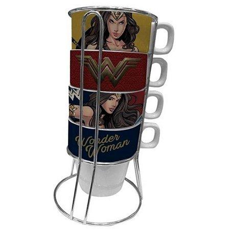 Torre c/ 4 Canecas 225ml Mulher Maravilha - DC Comics
