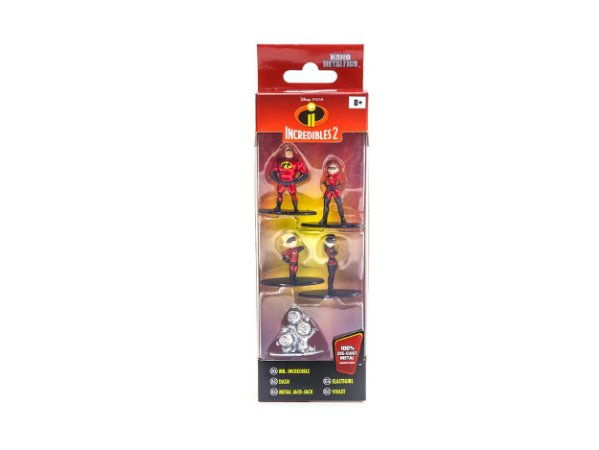 Coleção 5 Mini Figuras Nano Metals Die Cast Disney - Incredibles 2