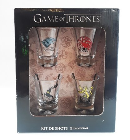Conjunto 4 Copos Shot / Dose 60ml GOT - Casas Game of Thrones