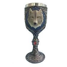 Taça / Cálice Medieval Resina e Aço - Lobo