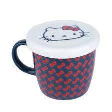 Caneca Porcelana c/ Tampa Hello Kitty Laços