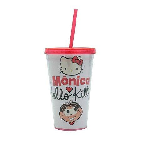 Copo Plástico c/ Canudo 500ml - Hello Kitty & Mônica