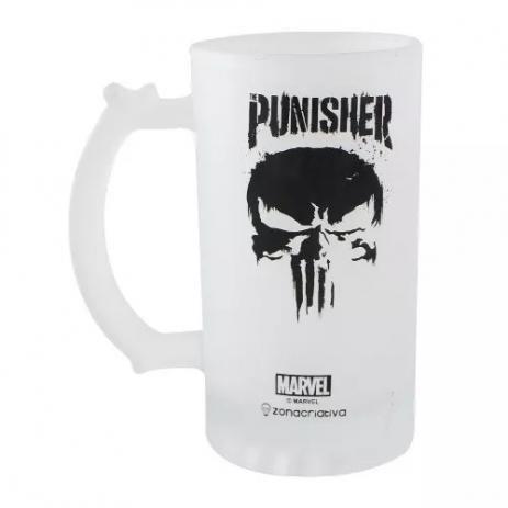 Caneca de Chopp 450ml Vidro Fosco Punisher / Justiceiro - Marvel