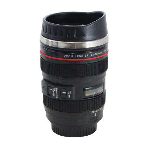 Caneca Térmica Preta Estilo Lente Canon 24-105mm.