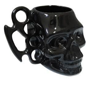 Caneca Porcelana 450ml Soco Inglês Caveira Skull 3D