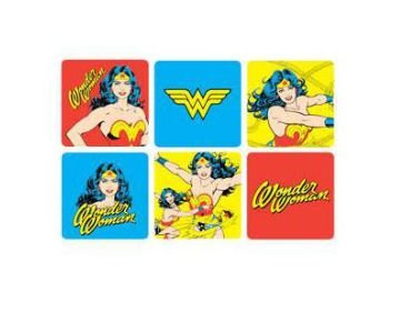 Conjunto c/ 6 Porta Copos Mulher Maravilha Comics e Logo