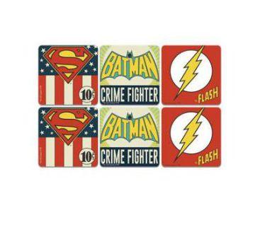 Conjunto c/ 6 Porta Copos DC Comics Vintage Logos
