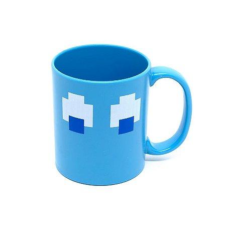 Caneca Plástico 400ml Fantasma Pac-Man Azul