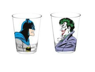 Conjunto c/ 2 Copos Vidro 300ml Batman e Joker - DC Comics
