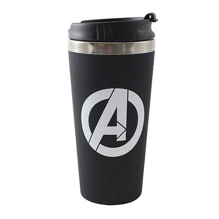 Copo Térmico Emborrachado 450ml Logo Avengers - Marvel