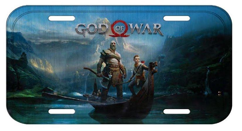 Placa de Carro Alumínio Kratos e Atreus Azul