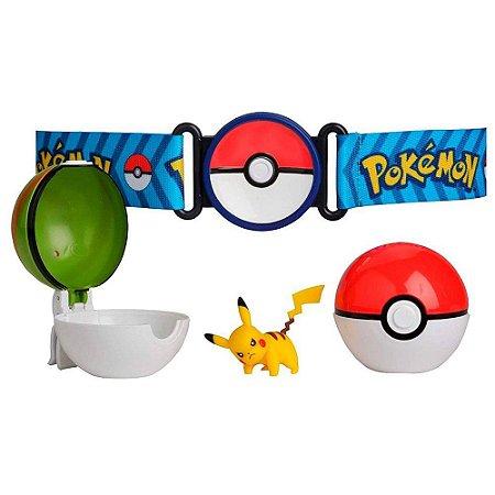 Conjunto Ação Pokémon Pikachu E Cinto Porta Pokebola DTC