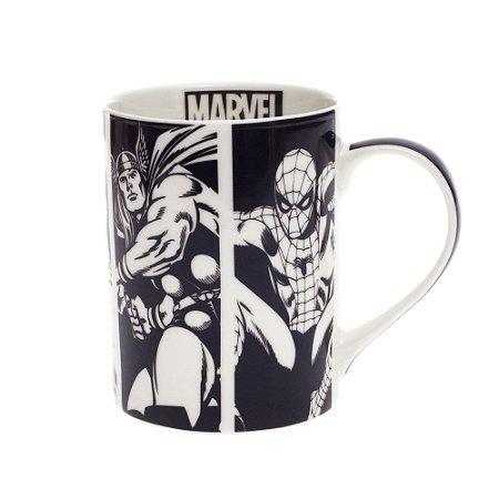 Caneca Porcelana Super Heróis Marvel P&B