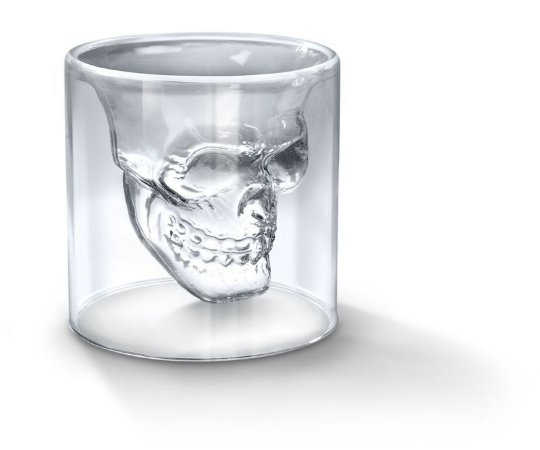 Copo Shot de vidro Caveira de Cristal 75ml, Skull Doomed