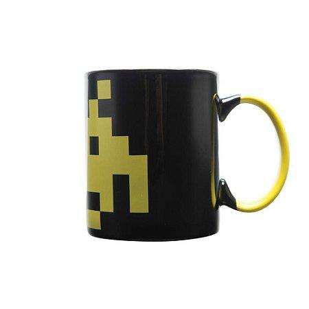 Caneca de Porcelana 300ml Space Invaders Amarelo