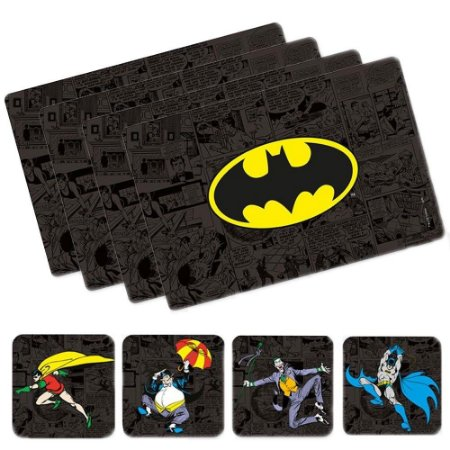 Conjunto Jogo Americano e Porta Copos Batman - DC Comics