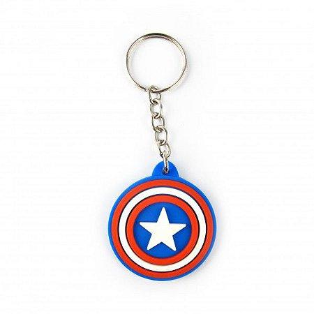 Chaveiro Emborrachado Escudo Capitão América