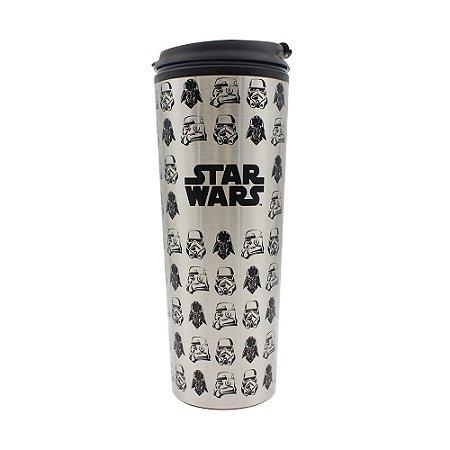 Copo Viagem com Tampa 450ml Trooper e Vader - Star Wars