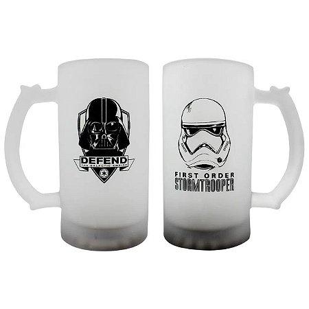 Conjunto 2 Canecas Vidro Fosco 450ml Star Wars - Darth Vader e Trooper