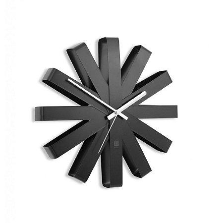 Relógio de Parede 30cm Ribbon Preto -  Umbra
