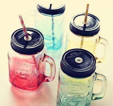 Caneca / Copo Jarra de Vidro Mason Jar - Ice Cold Drink