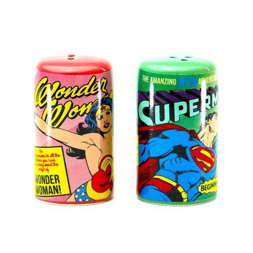 Saleiro e Pimenteiro Superman e Mulher Maravilha - DC Comics