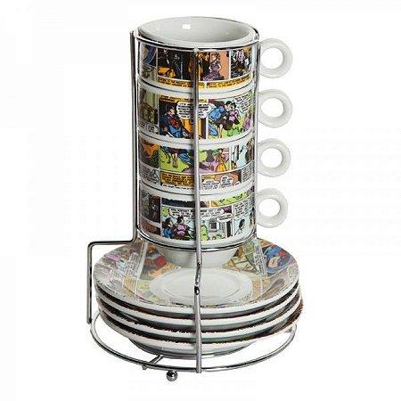 Conjunto 9 Peças Torre de Xícaras DC Comics