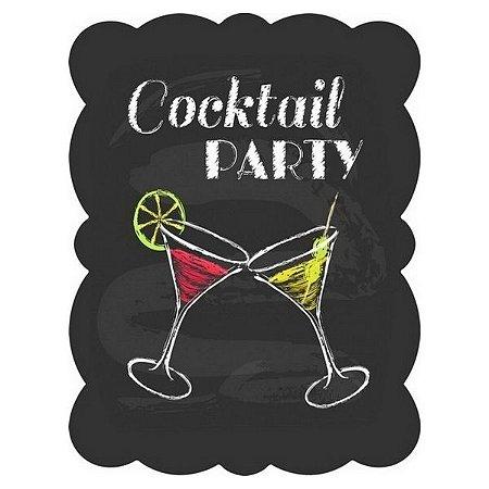 Placa de Metal Decorativa Cocktail Party