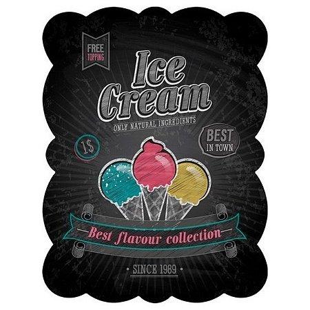 Placa de Metal Decorativa Ice Cream