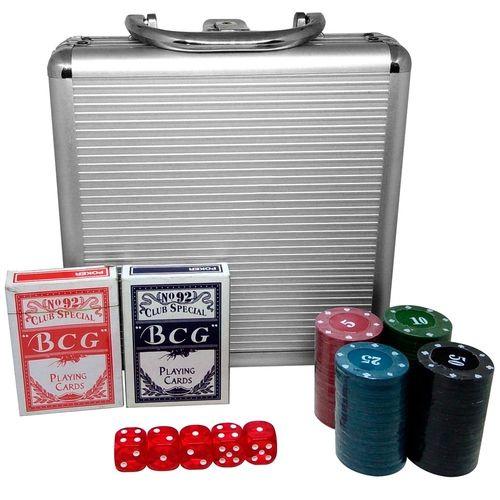 Jogo Poker 100 Fichas 2 baralhos 5 Dados com Maleta