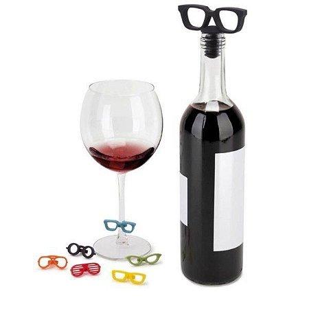 Kit Marcadores de Taça e Tampa para Vinho Óculos