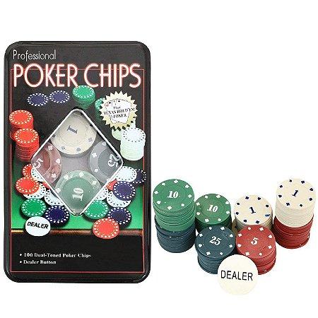 Professional Poker Chips Caixa 100 Fichas Poker Numeradas
