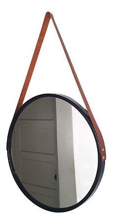 Espelho Suspenso Adnet FWB 45cm Preto Alça Couro Caramelo