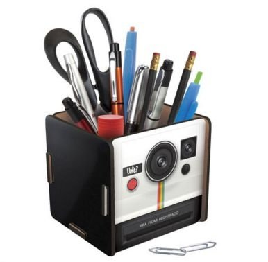 Porta Trecos Madeira Polaroid - Camera Instantânea