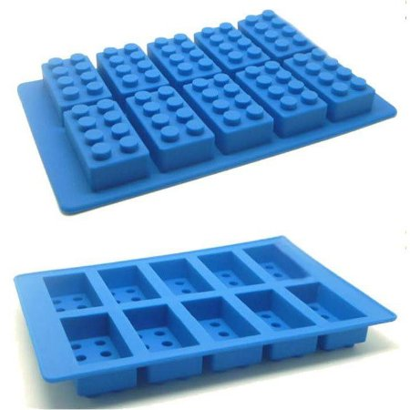 Forma de Silicone Gelo e Chocolate - Bricks / Blocos Azul
