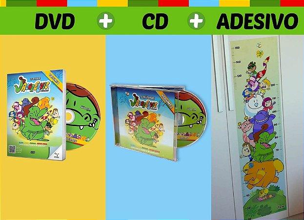 Combo DVD + CD + Adesivo do Jacarelvis e Amigos