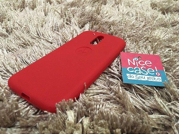 Capinha vermelha de silicone para Moto G4 Plus