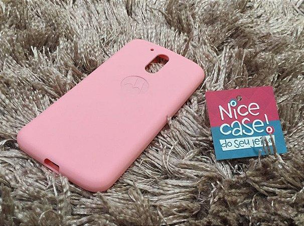 Capinha rosa de silicone para Moto G4 Plus