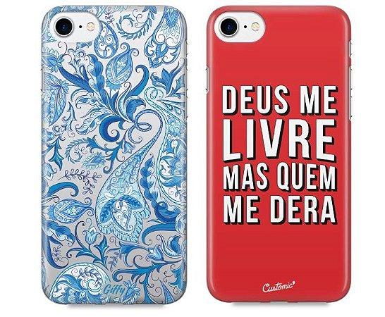 Capinhas para iPhone 8 Plus - Alpinia Blue / Deus me livre - Kit com 2 und