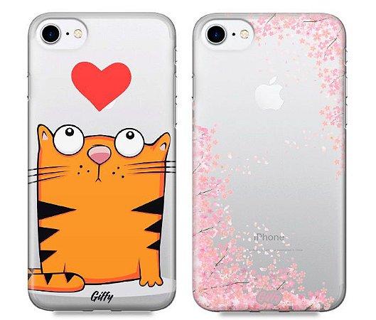 Capinhas para iPhone 8 - Gato / Cherry - Kit com 2 und